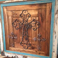Pallet wood, old window, and 3 metal crosses: Beautiful!