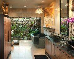 Love this but would get rid of the ugly cupboard on the left and extend the shower into a double shower. 42 Amazing Tropical Bathroom Décor Ideas | DigsDigs