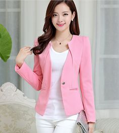 Spring Women Slim Blazer Coat Casual Jacket Long Sleeve One Button Suit Ladies Blazers Work Wear Pink Suits Women, Look Fashion, Fashion Outfits, Fashion Spring, Look Blazer, Blazers For Women, Ladies Blazers, Cheap Blazers, Winter Jackets Women