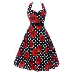 50s-Womens-Vintage-Rockabilly-Pinup-Skull-Print-Halter-Swing-Evening-Party-Dress