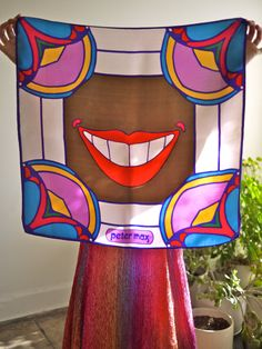 Peter Max Smile 1960s Silk Scarf