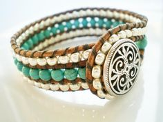 Turquoise n Silver Triple Row Leather Cuff Button by RopesofPearls, $46.00