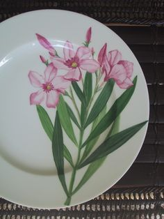 laurier rose. hand painted on Limoges Porcelain/ Patricia Deroubaix (sur commande/special order) France