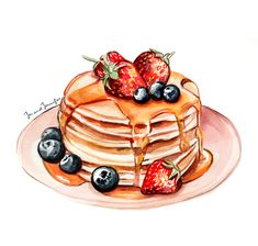 Delicious strawberry and blueberry Pancake stack il. Delicious strawberry and blueberry Pancake stack illustration by Jen a - Pancake Drawing, Food Drawing, Pancake Day Shrove Tuesday, Mode Poster, Dessert Illustration, Food Sketch, Pancake Stack, Food Cartoon, Watercolor Food