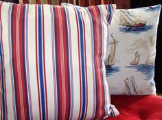 Nautical Throw Pillow Covers   Red White and Blue by berly731, $39.99
