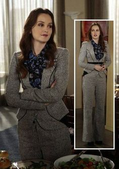 Blair's grey pant suit and blue floral blouse on Gossip Girl. Outfit Details: https://wornontv.net/8674/ #GossipGirl