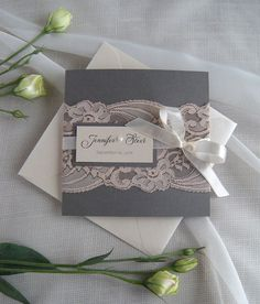 Wedding Invitation Lace Wedding Invitation Dusty Pink by JRTDaisy