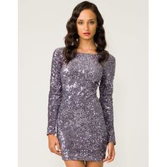 Motel Gabby Sequin Plunge Back Dress in Charcoal at sale prices now from Motel Rocks clothing the . Show stopping glitzy dress featuring all over silvery grey metallic sequins with long sleeves, low v exposed back, bodycon styling and in a luxuriously thick velvety fabric. This layered sequin mini dress is PERFECT for the party season, team this Motel dress with killer platform courts, black suspender tights and a patent clutch for a modern spin on vintage Hollywood glamour.   BUY NOW £58.00…