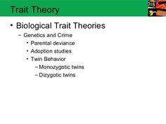 Trait Theory• Biological Trait Theories  – Genetics and Crime     • Parental deviance     • Adoption studies     • Twin Be...