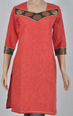 Brick red khadi cotton kurta with green & gold shallow v panel