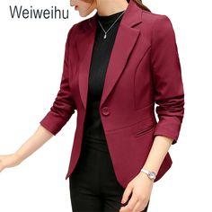 fe6e29a95e4 2018 Women s Blazer Pink Long Sleeve Blazers Solid One Button Coat Slim  Office Lady Jacket Female