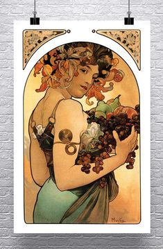Polyanthus 1899 Alphonse Mucha Art Nouveau Rolled Canvas Giclee Print 17x36 in.