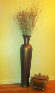 Yellow Forsythia With 27 Inch Natural Bamboo Cylinder