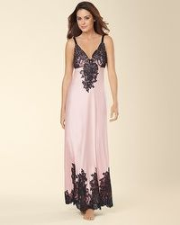 """Signature Floral Lace Long Nightgown Boudoir Pink  """"My Soma Wish List Sweeps"""""""