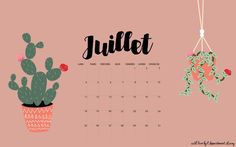 Calendrier de juillet à imprimer et le fond d'écran à télécharger