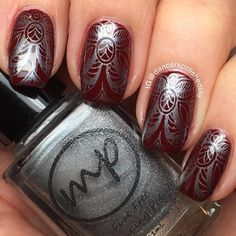This just looks so regal! Check out these awesome manis by @dancerspolishedlife from Instagram! Lovin' it! ________________________________________________ -My fingers look terribly red here, but the polish is color-accurate! Two coats of @cirquecolors Rouge Rockefeller stamped with @mpolishes Iron using @messymansion plate MM73 #cirquecolors #mpolishes #messymansion