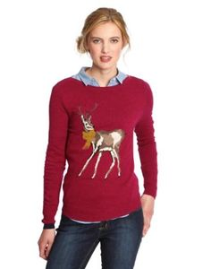 Joules Womens Character Knit Jumper, Dark Ruby Pink.