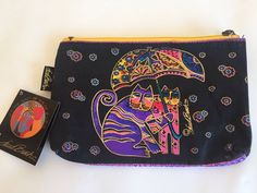 Laurel Burch Cosmetic Bag Feline minis Cats Under Umbrella  | eBay