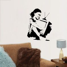 Banksy ' Girl With TV ' Medium Wall Sticker Decal  wall art for home new products for 2013 mural wallpaper 45*75CM Free shipping