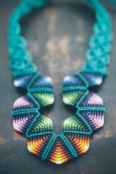 FABRIC geometrical necklace MARINE RAINBOW, statement colorful bib necklace hand-knotted by ARUMIdesign on Etsy, $68.89