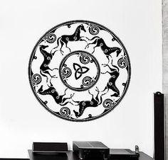 Wall Vinyl Horses Ancient Celtic Symbol Ornament Mural Vinyl Decal Unique Gift (z3342)