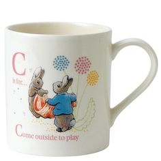 This perfect personalised present has been beautifully decorated using the original illustrations from the Beatrix Potter stories. This letter C mug features the much loved characters, Cotton Tail and Peter Rabbit. Each mug is presented in our new style branded craft box. Material; Ceramic. Dishwasher and microwave safe.