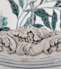 Carved detail on antique french bed