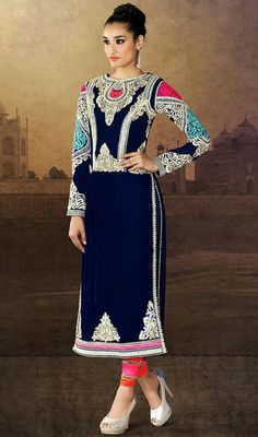 Flaunt your elegance of style, taste and manner dressed in this royal blue embroidered velvet churidar suit. This beautiful attire is displaying some superb embroidery done with moti, patch, resham and stones work. #AwesomeDesignerWear