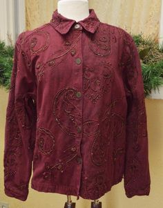 1c1c1441d8e88 Chicos Embellished Button Front Jacket 3(16 18) Burgundy Long Sleeves Boho