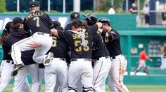 Miami Marlins at Pittsburgh Pirates - 8/8/2013 - W 5-4 10 innings The Pittsburgh Pirates celebrate against the Miami Marlins at PNC Park in Pittsburgh, Pennsylvania.