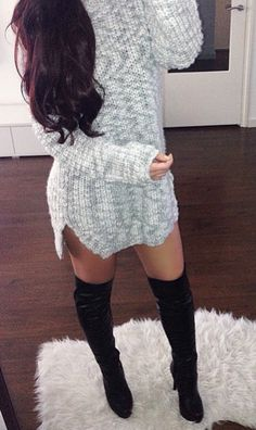 Love the sweater dress but would definitely use a suede over the knee boots instead of the ones she's wearing LEC