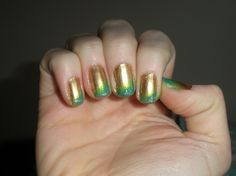 gold, green, and blue ombre with a touch of glitter