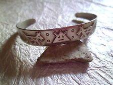 "Navajo Designed Coin Nickle Silver Pressed Native Design 5"" Cuff Bracelet #812"