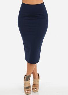 High Waisted Midi Skirt (Navy)