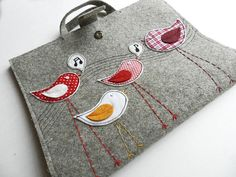 tote appliqued with long-legged birds by  GrafoGraphic @ Etsy