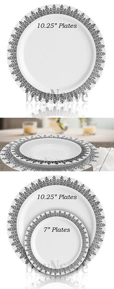 BuyNsave White with Silevr Heavyweight Plastic Elegant Disposable Plates Wedding Party Elegant Dinnerware Ornament Collection (35 10.25  sc 1 st  Pinterest & 9\