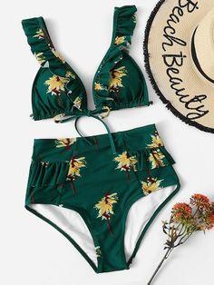 254b7108bb02 Ruffle Strap Top With Tanga Panty Bikini Set | SHEIN | Summer in ...