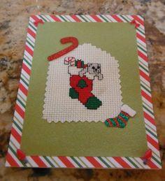 Christmas Stocking Handmade Cross Stitch by CraftyCrossStitches, $4.99