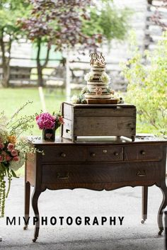 Jess & Matt's Naked 3 Tier Cake with cascading flowers and BLDHN Mr. Cake Topper on vintage dresser. Photo by: Miv Photogrpahy 3 Tier Cake, Tiered Cakes, Farm Wedding, Chic Wedding, Wedding Ideas, Cascading Flowers, Vintage Dressers, Special Day, Cake Toppers