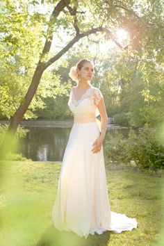 """sophie-grace"" chantilly lace and silk crepe bias wedding gown by rebecca scholneveld cheek - $2,128.00, via Etsy."