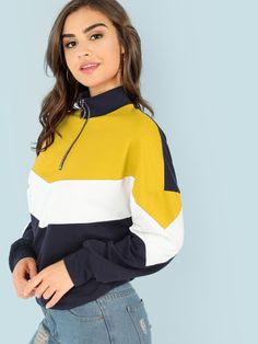 0fd386e42 SHEIN Multicolor Casual Colorblock O-Ring Zip Front Cut And Sew Stand Collar  Sweatshirt 2018 Autumn Campus Women Sweatshirts