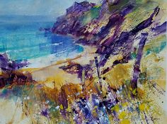 Dart Gallery offers a fresh selection of contemporary British art by established artists at its space in the heart of beautiful Dartmouth, Devon. Contemporary Landscape, Abstract Landscape, Landscape Paintings, Watercolor And Ink, Watercolor Paintings, Acrylic Paintings, Local Painters, Art Folder, Inspirational Artwork