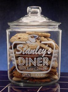 Personalized Retro Diner Theme Etched Glass Cookie Jar: http://www.amazon.com/Personalized-Retro-Diner-Etched-Cookie/dp/B003IWPHUA/?tag=greavidesto05-20