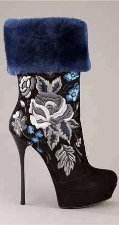 GIANMARCO LORENZI embroidered floral bootie (ankle boot) high heel -...Oh My God Gorgeous!!!!