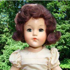 C1940s Effanbee Anne Shirley Little Lady Doll Composition 15 Inch in Pink Dress Dark Auburn Hair by AmericanBeautyDolls on Etsy