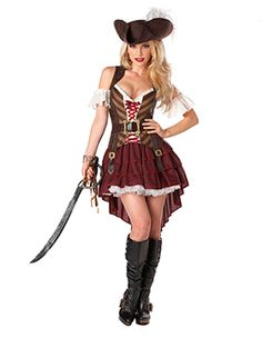 Our selections of Sexy Pirate costumes are sure to turn heads. We have Sexy Buccaneer costumes, Sexy Pirate costumes, Sexy Wench costumes and more. Buy your Sexy Pirate costume from the costume authority at Halloween Express. Costume Halloween, Costume Sexy Pirate, Pirate Costumes, Adult Halloween, Women Halloween, Halloween Party, Pirate Dress, Spirit Halloween, Halloween Express