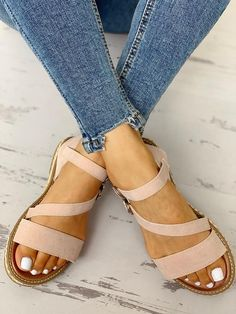 10d8ab159237 Buckled Strappy Open Toe Flat Sandals Open Toe Flats
