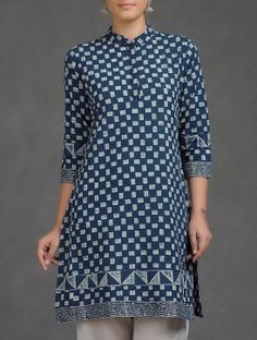 Indigo-White Dabu Printed Cotton Kurta
