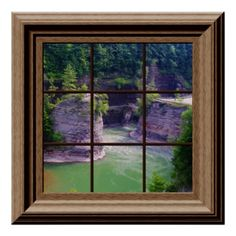 fake window poster peaceful river gorge