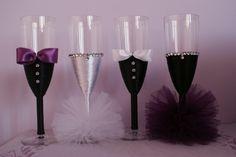 6 Wedding Glasses, Champagne Glasses, Wedding Crafts, Wedding Ideas, Wedding Story, Nasa, Tableware, Wedding Champagne, Weddings